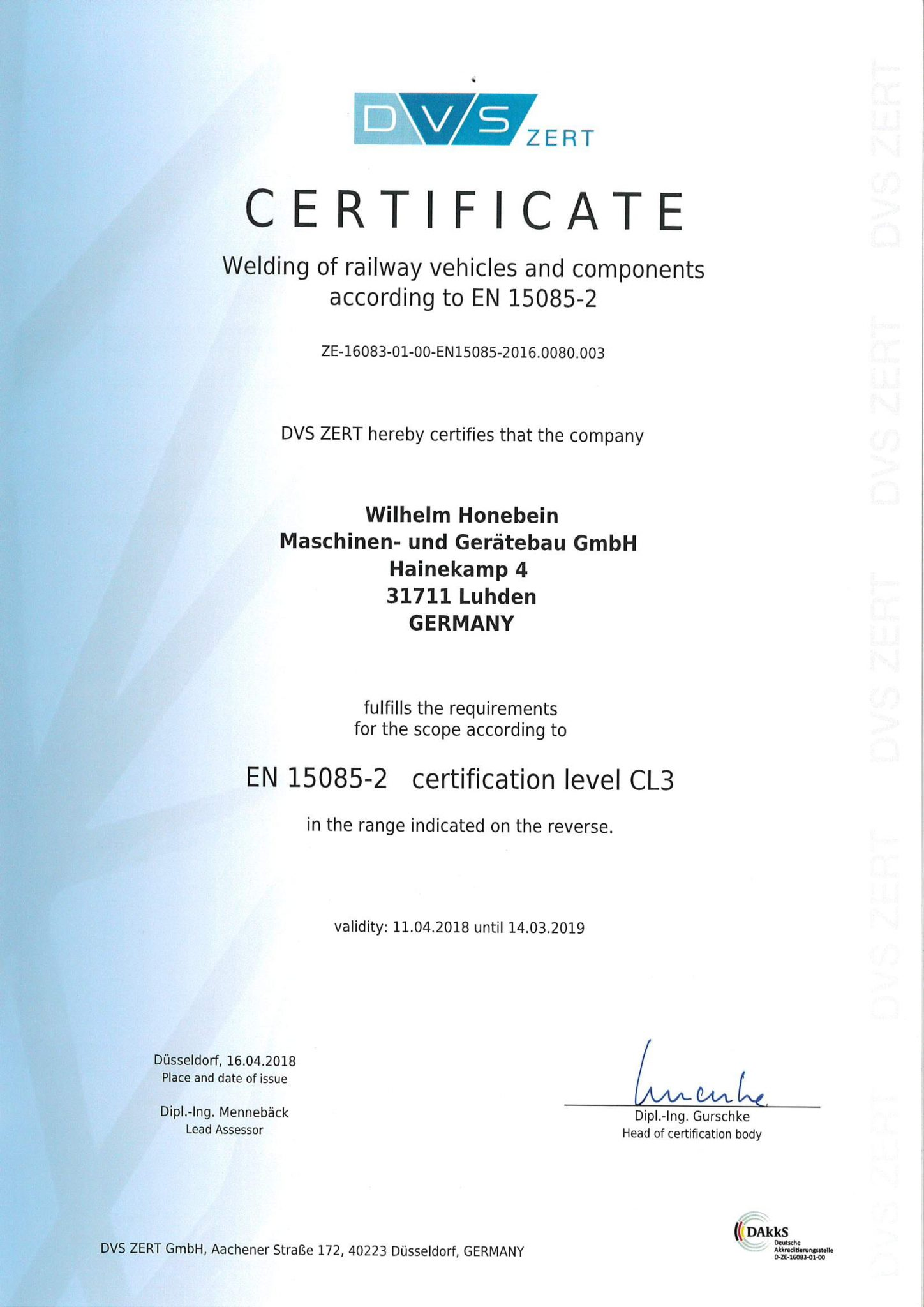 Certificate for Welding of railway vehicles and components according to EN 15085-2 level CL 3