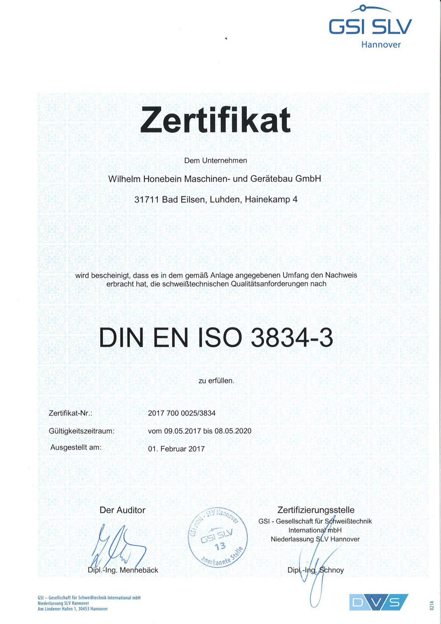 Zertifikat schweißtechnische Qualitätsanforderungen DIN EN 3834-3