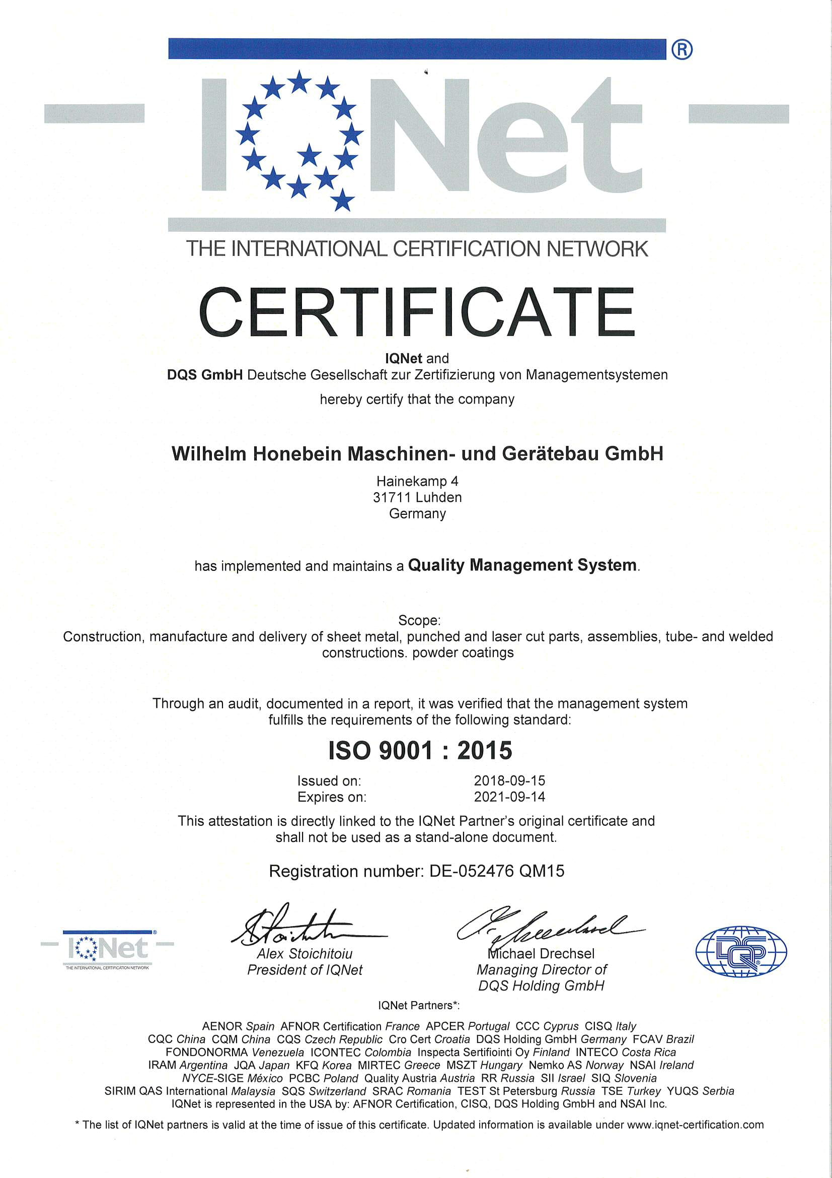 Certification Quality Management ISO 9001 : 201